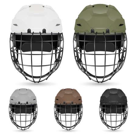 icehockey: Set of goalkeeper hockey helmets, isolated. Vector  illustration. Illustration