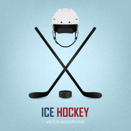 hockey equipment: Ice hockey helmet, puck and crossed sticks on ice rink background. Vector EPS10 illustration.
