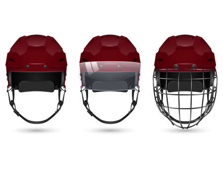 visor: 3d realistic maroon hockey helmet in three varieties - without protection, with visor and goalkeepers. Isolated on white background. Vector  illustration.