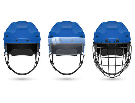 visor: 3d realistic blue hockey helmet in three varieties - without protection, with visor and goalkeepers. Isolated on white background. Vector  illustration.