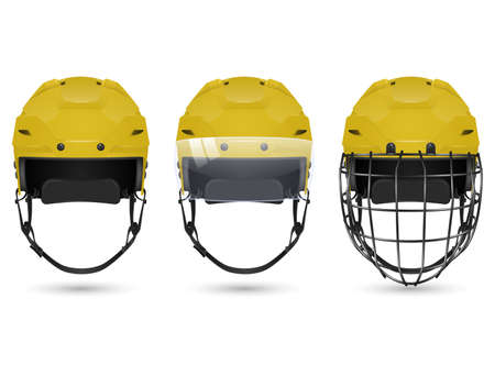 visor: 3d realistic yellow hockey helmet in three varieties - without protection, with visor and goalkeepers. Isolated on white background. Vector  illustration.