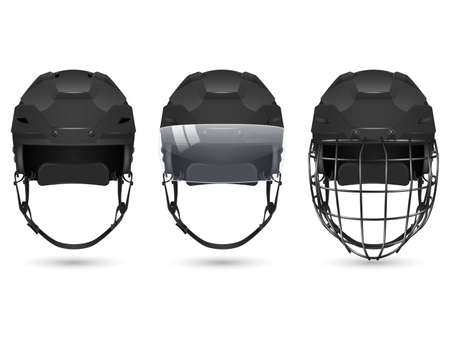visor: 3d realistic black hockey helmet in three varieties - without protection, with visor and goalkeepers. Isolated on white background. Vector  illustration.