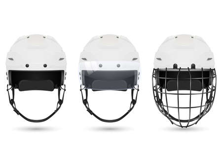 visor: 3d realistic white hockey helmet in three varieties - without protection, with visor and goalkeepers. Isolated on white background. Vector  illustration.