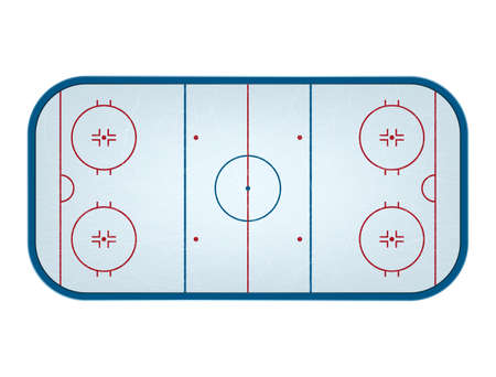 Ice hockey rink isolated, top view. Vector  illustration.