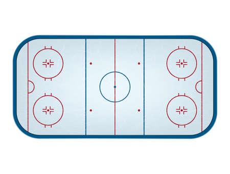Ijshockeybaan geïsoleerd, bovenaanzicht. Vector illustratie.