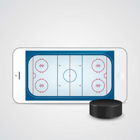 ice hockey puck: White smartphone with ice hockey puck and field on the screen. Vector EPS10 illustration.