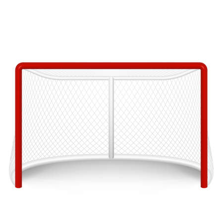 hockey equipment: red hockey goal, net.