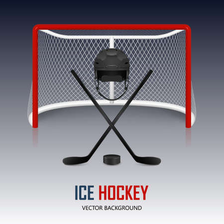 hockey equipment: Ice hockey helmet, hockey puck, sticks and goal.