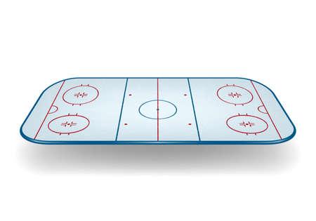 Ice hockey field isolated on white background.