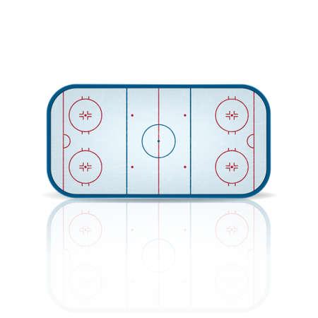 hockey sobre cesped: Campo de hockey sobre hielo con la reflexi�n, aislado en fondo blanco.