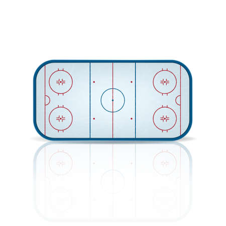 hockey games: Ice hockey field with reflection, isolated on white background.