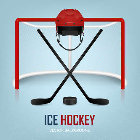 hockey goal: Ice hockey helmet, hockey puck, sticks and goal. Vector EPS10 background.