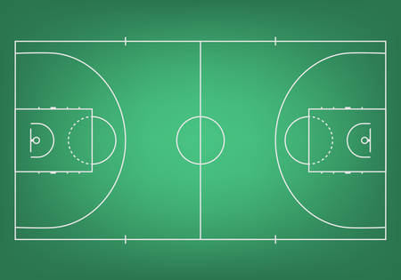 Green basketball court - top view. Vector EPS10 illustration.