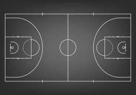 cancha de basquetbol: Cancha de baloncesto Negro - vista desde arriba. Ilustración vectorial EPS10.
