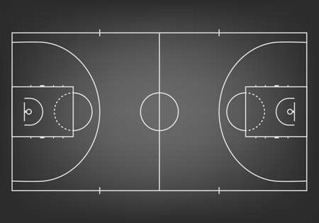 Black basketball court  - top view. Vector EPS10 illustration. Vettoriali
