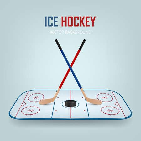 hockey hielo: Disco de hockey sobre hielo y palos cruzados en el fondo del campo de hockey. Ilustración vectorial EPS10. Vectores