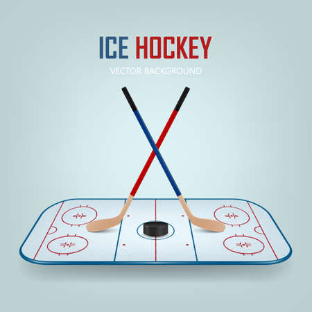 Ice hockey puck and crossed sticks on hockey field background. Vector EPS10 illustration. Illustration