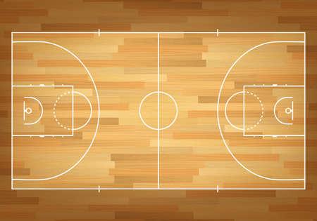terrain de basket: Basket-ball sur le dessus. Vecteur EPS10 illustration.