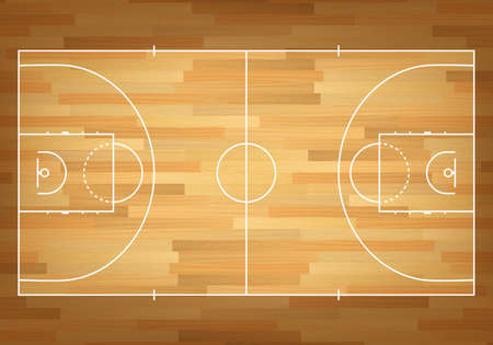 wood floor: Basketball court on top. Vector EPS10 illustration. Illustration