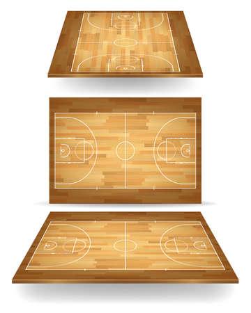 Houten basketbalveld met perspectief. Vector EPS10 illustratie. Stock Illustratie