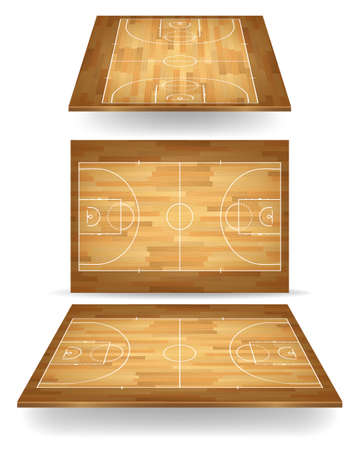 Wooden basketball court with perspective. Vector EPS10 illustration.