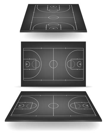 Black basketball court with perspective. Vector EPS10 illustration. Vector