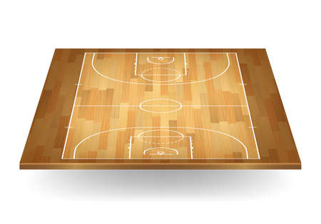 3d wooden basketball court. Vector EPS10 illustration. Vector