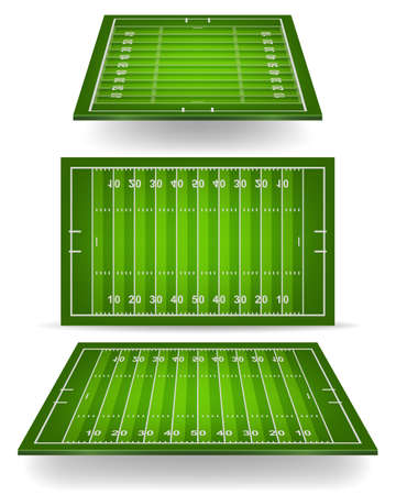 American football field with perspective. Vector EPS10 illustration.