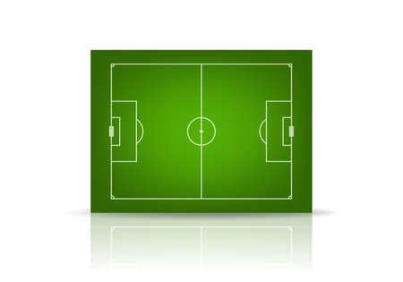 sideline: Campo de f�tbol 3d, aislado en blanco. Ilustraci�n vectorial EPS10.