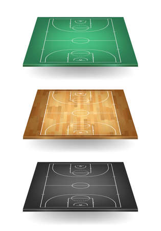 balck: Set of basketball courts in different colours - green, wooden and balck. Top view. Vector EPS10 illustration.