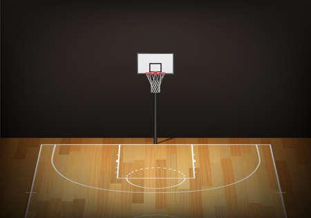 panier de basket sur vide tribunal bois. Vecteur EPS10 illustration.