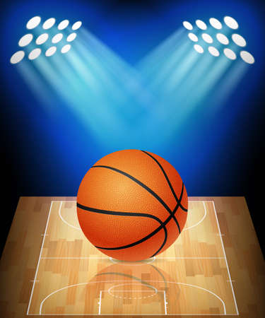 Balle sur le court de basket-ball avec des spots. Vecteur EPS10 illustration.