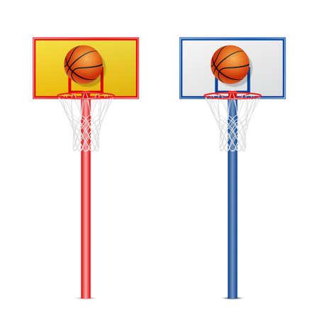 basketball hoop: Basketball hoop with a ball, vector set. EPS10 illustration.