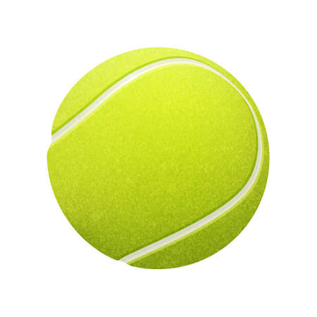 Single tennis ball isolated on white background. Vectores