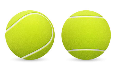 Closeup of two vector tennis balls isolated on white background.