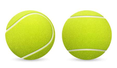 Close-up van twee vector tennisballen op een witte achtergrond.