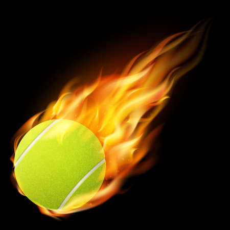Flaming tennis ball on a dark background.  Vector