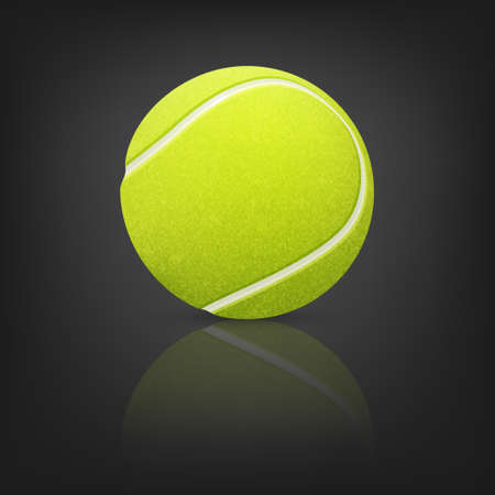 darkness: Tennis ball on a reflective surface in the darkness.  Illustration