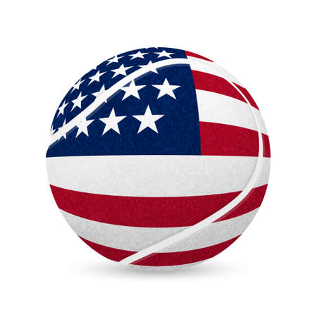wimbledon: 3D tennis balls with US flag isolated on white. Vector EPS10 illustration. Illustration