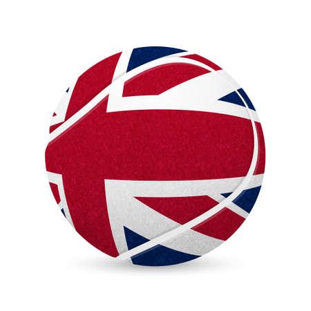3D tennis balls with UK flag isolated on white.  Illustration