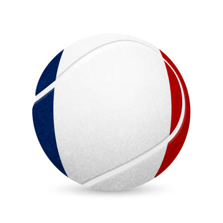 french flag: 3D tennis balls with French flag isolated on white.