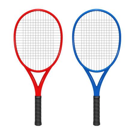 raqueta de tenis: Dos raquetas de tenis - rojo y azul.