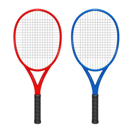 Two tennis rackets - red and blue.  Ilustrace
