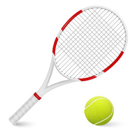 raqueta de tenis: Combinación de raqueta de tenis y pelota aislados sobre fondo blanco.