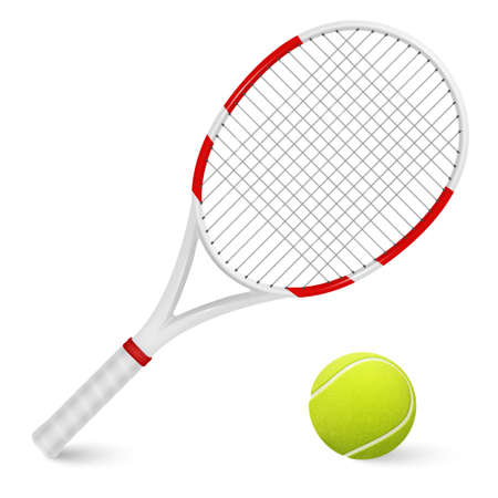 Combination of tennis racket and ball isolated on white background.