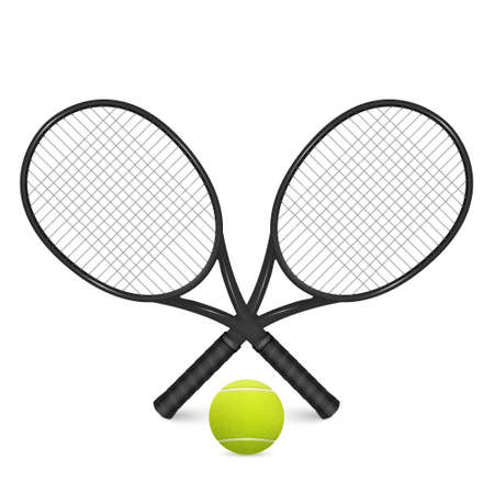 Tennisbal en twee gekruiste rackets. Geïsoleerd op wit. Stock Illustratie