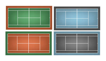 deuce: Set of combined tennis courts.     Illustration