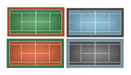deuce: Set of combined tennis courts.     Illustration