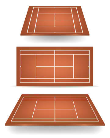 deuce: Set of brown tennis courts with perspective.   Illustration