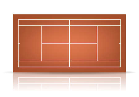 hard court: Brown tennis court with reflection.   Illustration